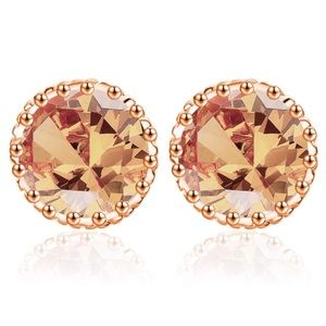 CZ Crystal Stud Earrings New Golden